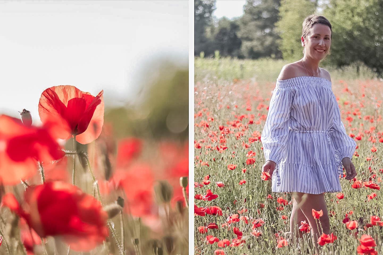 Dans les champs de coquelicots   Look ete 2017, robe épaule découverte, robe été 2017, robe été, robe été facile, robe ete 2017 tendance, robe epaule bardot, robe epaule decouverte - Cliquez pour découvrir l'article