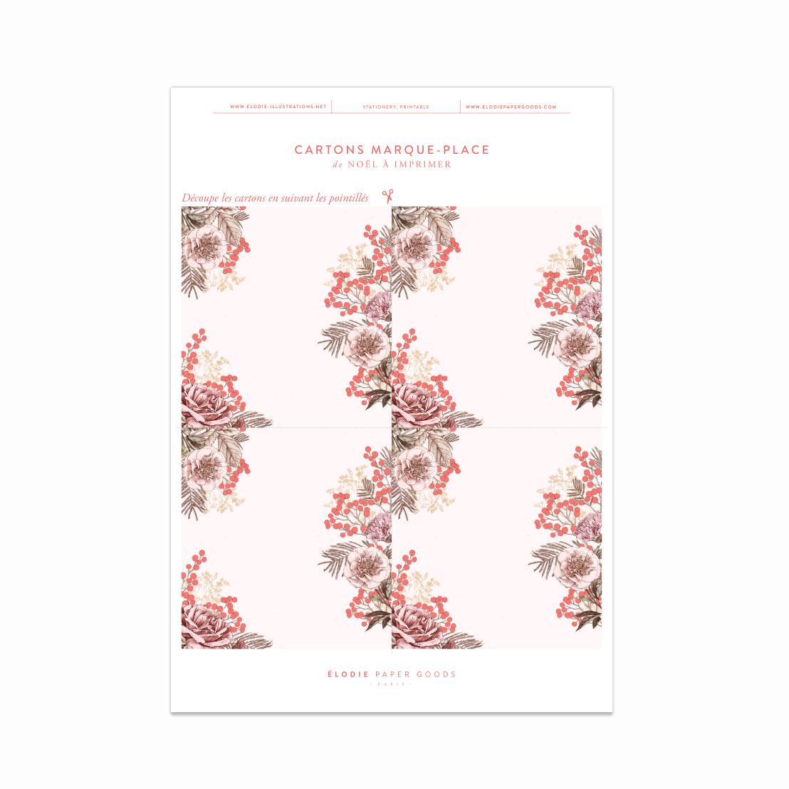 Marques Places Noel A Imprimer Gratuitement Pour Votre Reveillon Elodie Fashion Lifestyle Illustrator