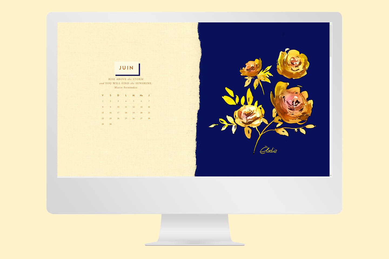 Fond d'écran gratuit de juin - Gold Peonies - Cliquez pour découvrir l'article