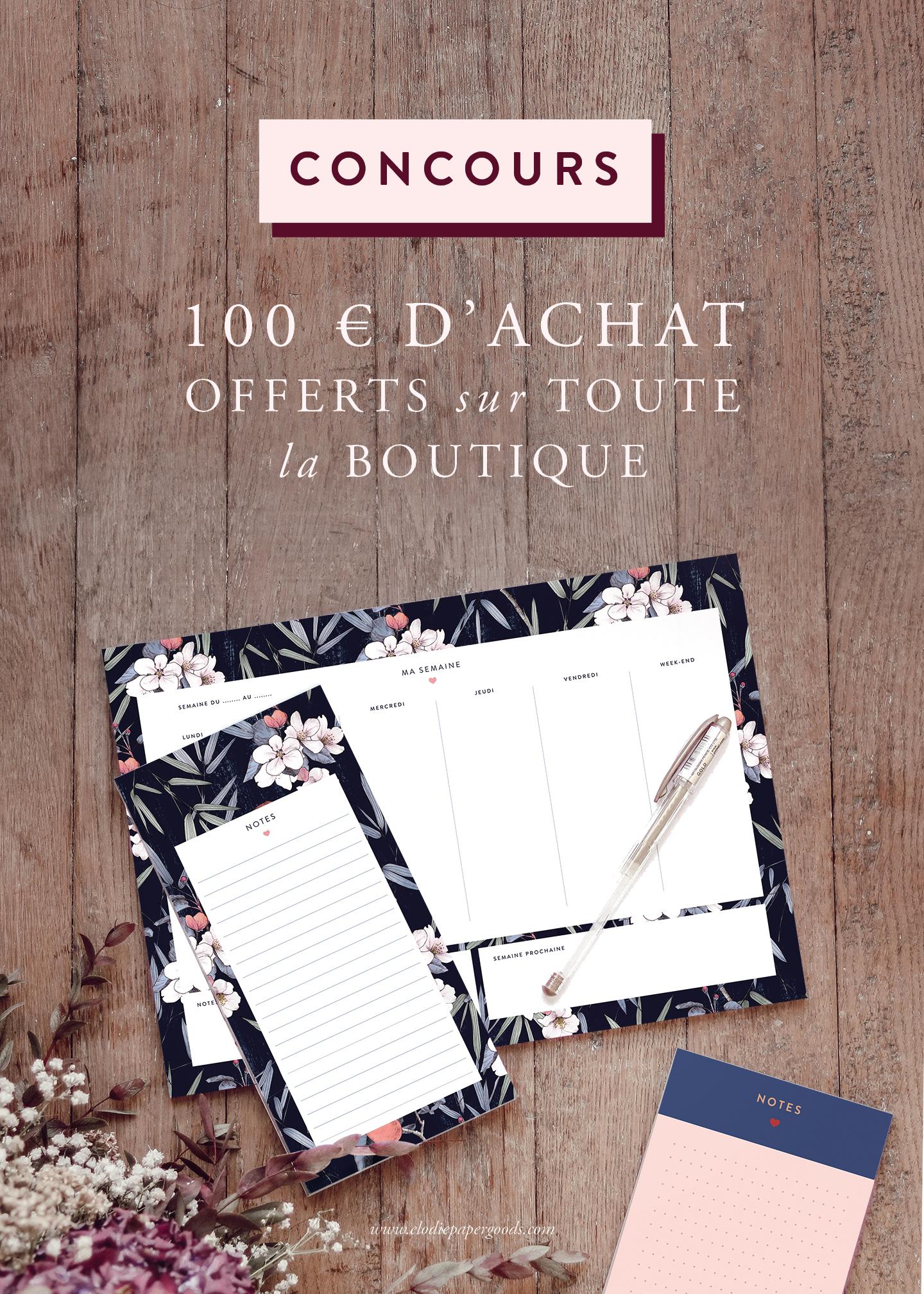 CONCOURS : 100 € d'achats offerts sur toute la boutique ! - Cliquez pour découvrir l'article